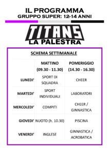 Titans Summer Camp - Programma 12-14